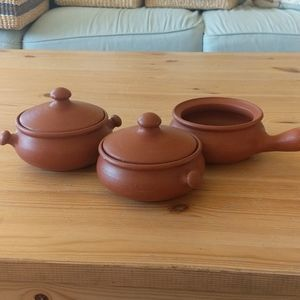 Brown crock bowls with handles